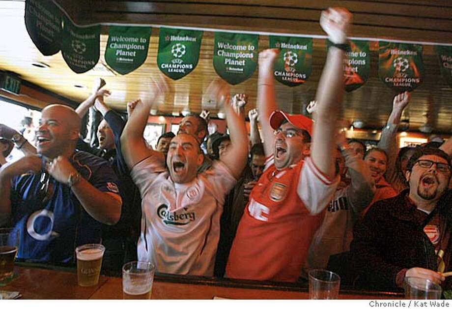 NEVIUS18_0027_KW_.jpg (L to R) Sol Campbell, Steven Gerrard, Brian Rovner and Michael Sullivan cheer as England's, Arsenal scores the first goal during the first half of the European Soccer Championships between Arsenal and Barcelona at The Kezar Pub on Stanyan on Wednesday May 17, 2006.  (Kat Wade/The Chronicle) **Sol Campbell, Steven Gerrard, Brian Rovner and Michael Sullivan cq Mandatory Credit for San Francisco Chronicle and photographer, Kat Wade, Mags out Photo: Kat Wade