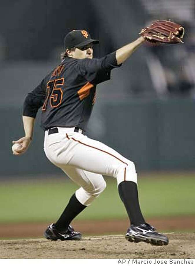 San Francisco Giants pitcher Barry Zito throws to the Seattle Mariners in the second inning of an exhibition baseball game in San Francisco, Thursday, March 29, 2007.(AP Photo/Marcio Jose Sanchez) Photo: Marcio Jose Sanchez