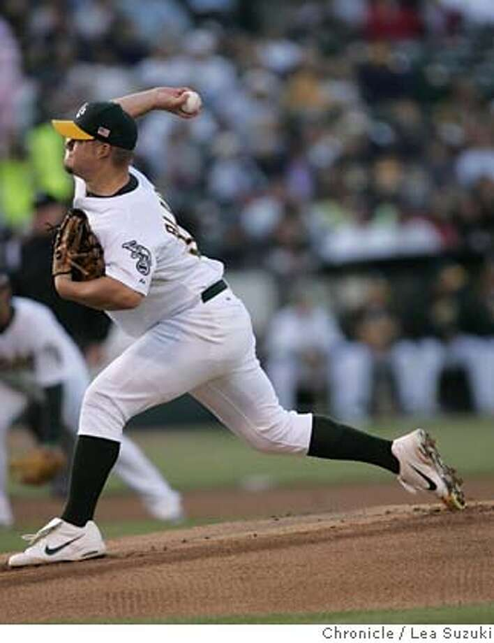 athletics_086_ls.JPG  Athletics Starting pitcher Joe Blanton.  Oakland Athletics vs. Detroit Tigers on Monday July 3, 2006 at McAfee Stadium.  Photo by Lea Suzuki/The San Francisco Chronicle  Photo taken on 7/3/06, in Oakland, CA. **(roster) cq. Photo: Lea Suzuki