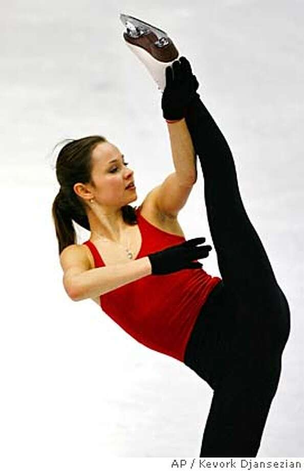 Sasha Cohen, of the United States, skates during training Monday, Feb. 20, 2006 in Turin, Italy during the Turin 2006 Winter Olympic Games. (AP Photo/Kevork Djansezian) Photo: KEVORK DJANSEZIAN