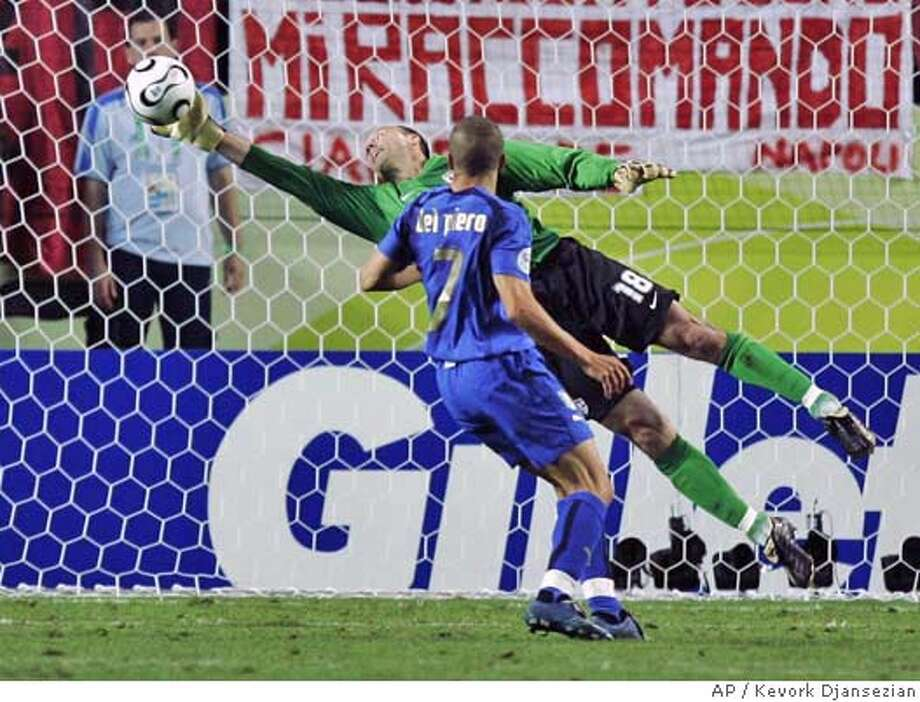 ** CORRECTS TO ALESSANDRO DEL PIERO NOT ALESSANDRO GATTUSO ** USA's goalkeeper Kasey Keller makes a save on a kick by Italy's Alessandro Del Piero during the second half of their World Cup Group E soccer match in Kaiserslautern, Germany, Saturday, June 17, 2006. Other teams in Group E are Ghana and Czech Republic. (AP Photo/Kevork Djansezian) ** MOBILE/PDA USAGE OUT ** Photo: KEVORK DJANSEZIAN