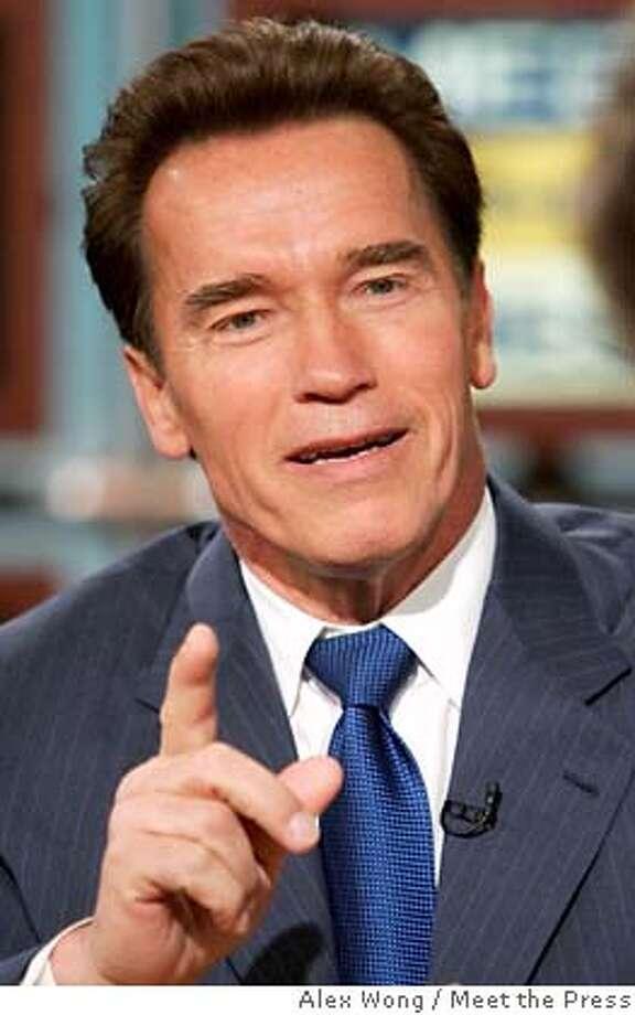 California Governor Arnold Schwarzenegger speaks on �Meet the Press� in Washington Photo: HO