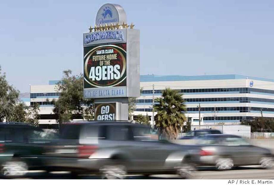 "The Great America park's electronic marquee reads ""Future Home of the 49ers"", on Thursday, Nov. 9, 2006, in Santa Clara, Calif. The 49ers have abandoned their decade-long attempts to build a new stadium and a massive commercial-residential development on Candlestick Point, their San Francisco home since 1971. (AP Photo/Mercury News, Rick E. Martin) **MAGS ** Photo: KAREN T. BORCHERS"