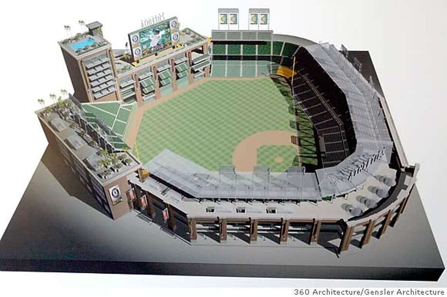 ballpark_112_pc.jpg  An architect's rendering of the proposed stadium that Oakland A's owner Lewis Wolff presented to the Oakland - Alameda Co. Coliseum Authority board of commissioners on 8/12/05 in Oakland, Calif.  360 ARCHITECTURE / GENSLER ARCHITECTURE Ran on: 08-13-2005  Lewis Wolff, A's owner, speaks to the Coliseum Authority Board about the proposed ballpark. Ran on: 08-13-2005 Ran on: 08-13-2005  Lewis Wolff, A's owner, speaks to the Coliseum Authority board about the proposed ballpark. MANDATORY CREDIT FOR PHOTOG AND S.F. CHRONICLE/ - MAGS OUT Photo: PAUL CHINN