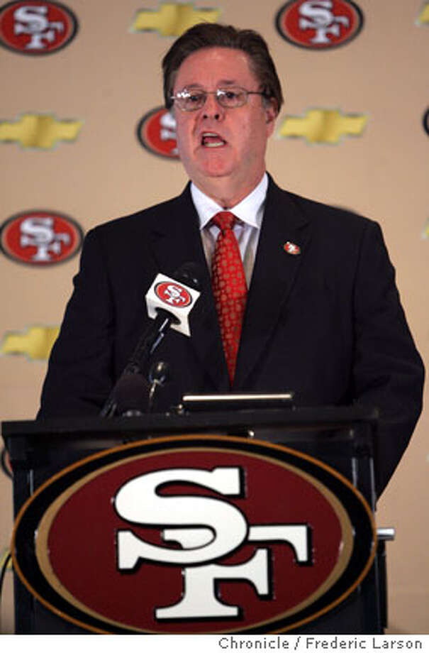 "Owner of the 49ers John York stated at a press conference in Santa Clara that The San Francisco 49ers will abandon their namesake city and look to build a stadium in Santa Clara, after concluding that their plan to build a stadium and retail-housing complex at Candlestick Point will not work. The 49ers said Candlestick Point, where the team has played since 1971, cannot support a ""new state-of-the-art NFL stadium and adjacent major mixed-use project."" The decision to look at Santa Clara -- the team's headquarters and the site of their training facility -- came after ""careful deliberation"" and a year of study, the team said. ""The team came to the conclusion that the (San Francisco) project would not have offered the optimal game day experience it is seeking to create for fans, and has therefore decided not to move forward with the public approval process at Candlestick Point,"" the 49ers said in a statement. 11/9/06  {Photographed by } Photo: Frederic Larson"