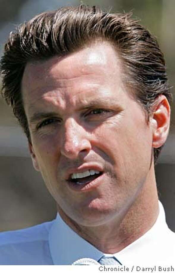 newsom26_0243_db.JPG  Mayor Gavin Newsom talks about San Francisco making the short list of those cities to be considered to host the 2016 Summer Olympic games as he visits the Hunters Point Boys and Girls Club baseball field, in San Francisco, CA on Wednesday, July 26, 2006. shot: 7/26/06  Darryl Bush / The Chronicle ** Gavin Newsom (cq) MANDATORY CREDIT FOR PHOTOG AND SF CHRONICLE/ -MAGS OUT Photo: Darryl Bush
