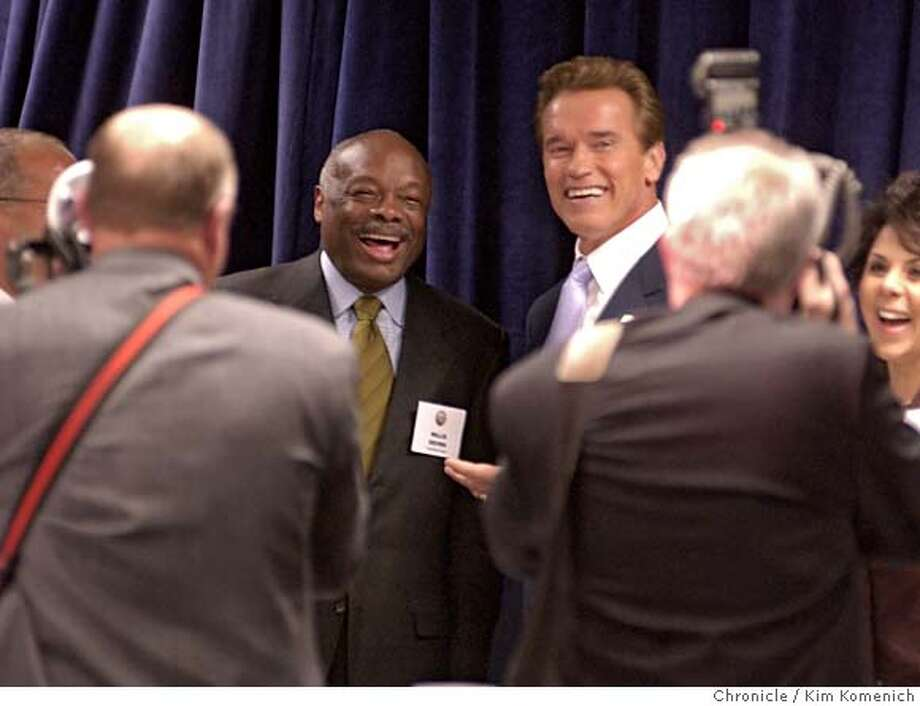 TRANSITION17_025_kk.jpg  Governor elect Arnold Schwarzenegger attends a transition committee meeting at the California Chamber of Commerce office. Mayor Willie Brown and Schwaezenegger joke for the photogrpahers as the gov elect makes his way around the room  KIM KOMENICH/The Chronicle CHP Officer Richard Moss patrols the stands as they are prepared for the inauguration of Arnold Schwarzenegger. . CHP Officer Richard Moss patrols the stands as they are prepared for the inauguration of Arnold Schwarzenegger. . CAT MANDATORY CREDIT FOR PHOTOG AND SF CHRONICLE/ -MAGS OUT Photo: KIM KOMENICH