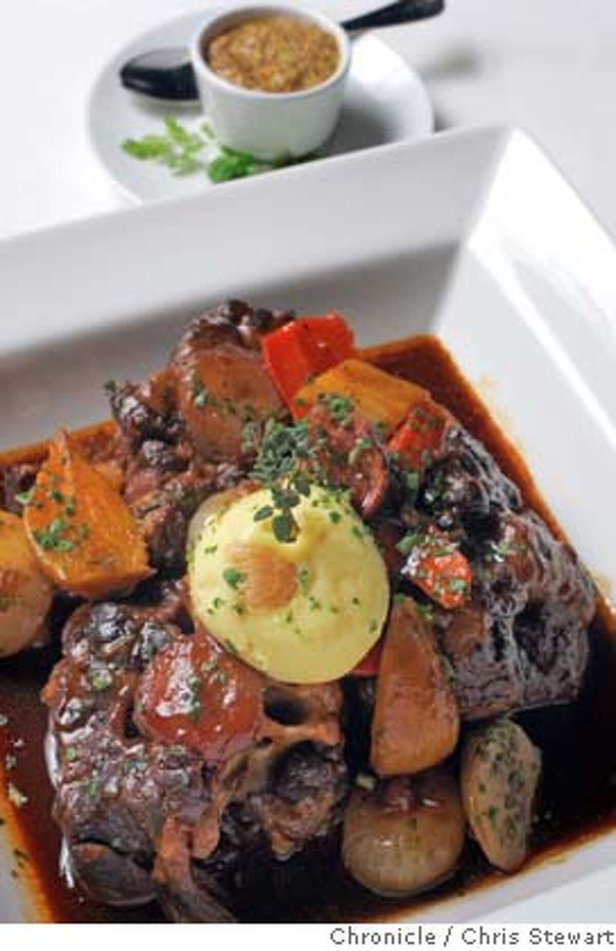 Event on 2/8/05 in San Francisco. Jack Falstaff, 598 2nd Street (at Brannan), SF, is the new hangout of SF Mayor Gavin Newsom and many other politicos. It was designed by Stanley Gatti. This is the Oxtail dish. Chris Stewart / The Chronicle