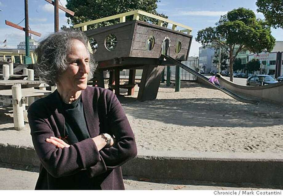 shooting_102_mc.jpg  Place column in Datebook will return with a tour of playgrounds with Susan Solomon, who wrote the book on them -- and is scornful that so many of them have been turned into spaces that are over-safe and under-creative for kids of most ages, leaving no challenge of all. She's pictured here at one in Oakland's chinatown that she praises in her book  . PHOTO: Mark Costantini/San Francisco Chronicle MANDATORY CREDIT FOR PHOTOG AND SF CHRONICLE/ -MAGS OUT Photo: Mark Costantini