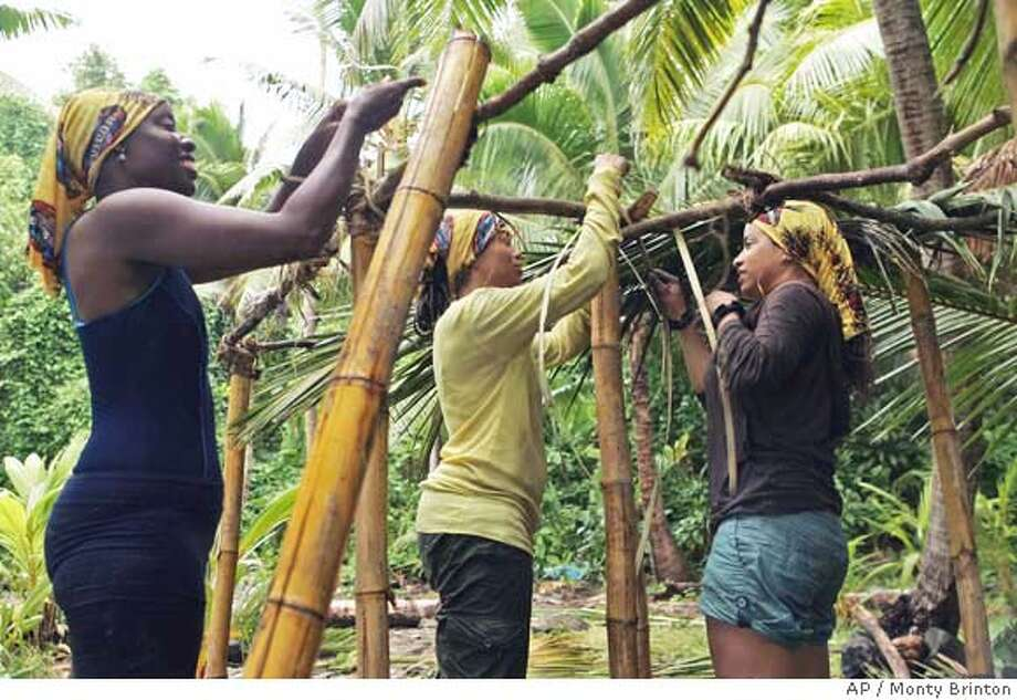 "This promotional photo made in June 2006, provided by CBS, shows Stephannie Favor, left, Sundra Oakley and Rebecca Borman, right, during the first episode of the network's reality series ""Survivor: Cook Islands,"" which airs Thursdays. (AP Photo/CBS, Monty Brinton) 2006 CBS Broadcasting Inc. All Rights Reserved MANDATORY CREDIT; NO ARCHIVE; ; FOR NORTH AMERICAN USE ONLY Photo: MONTY BRINTON"