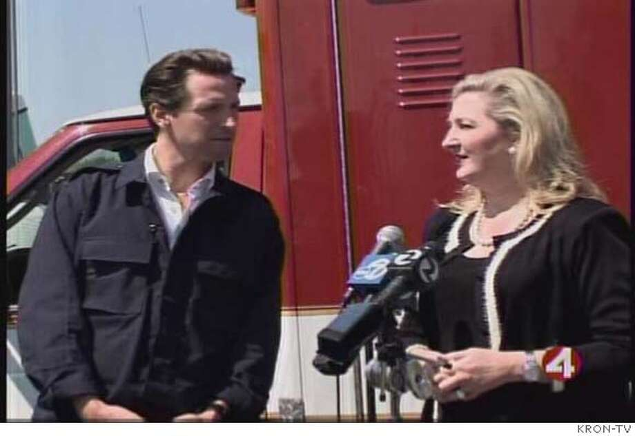 Mayor Newsom and Annmarie Conroy at 9/11 drill.  Credit KRON-TV Photo: Credit KRON-TV