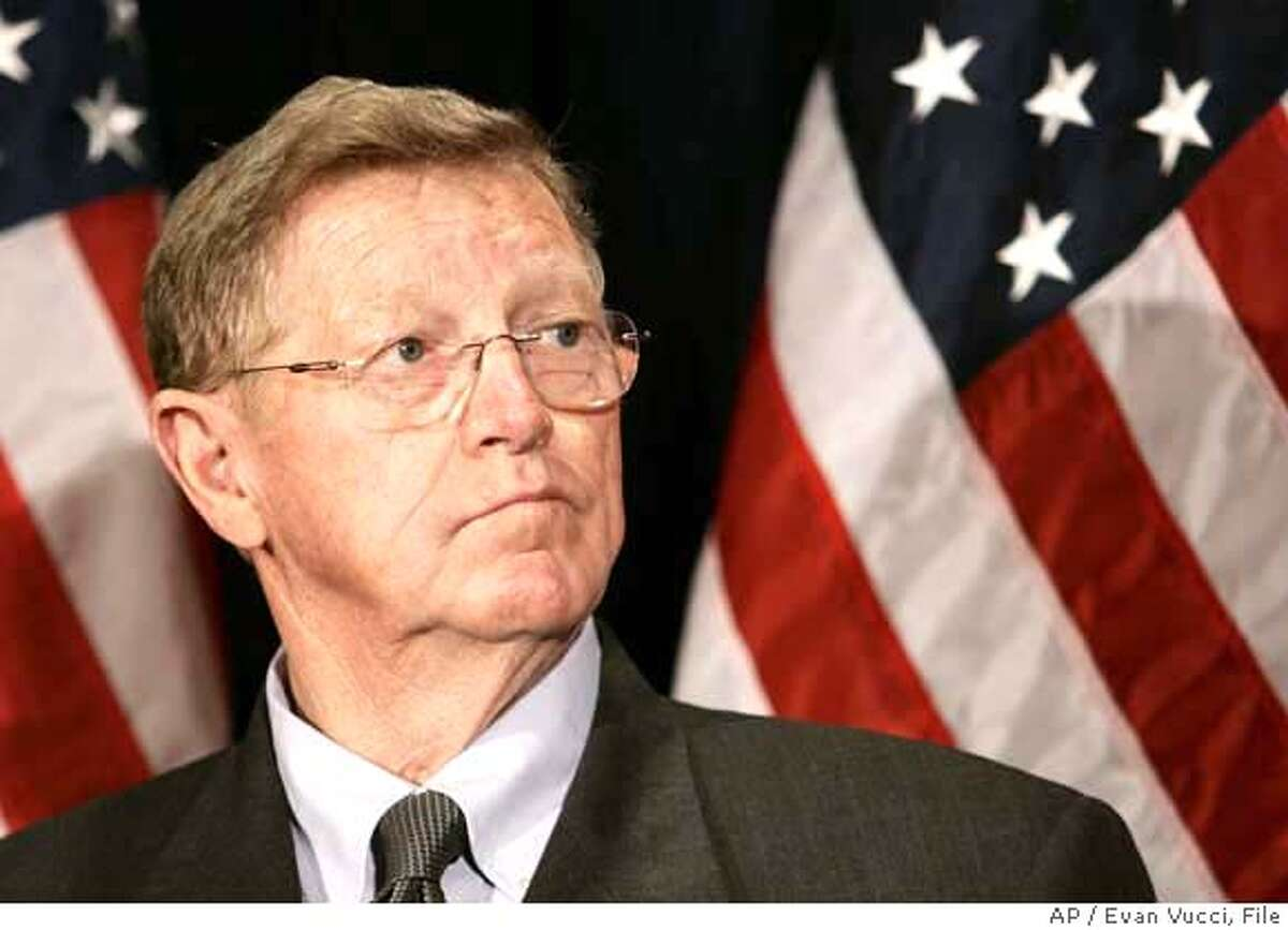 ** FILE ** Sen. Conrad Burns, R-Mont., listens to President Bush speak during a fundraiser in Washington in this March 27, 2006 file photo. Burns' recent