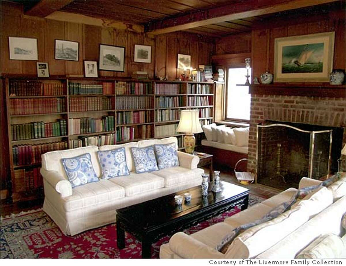 Book-filled living room in the Julia Morgan-designed home at 1023 Vallejo St. Photo courtesy of the Livermore Family Collection