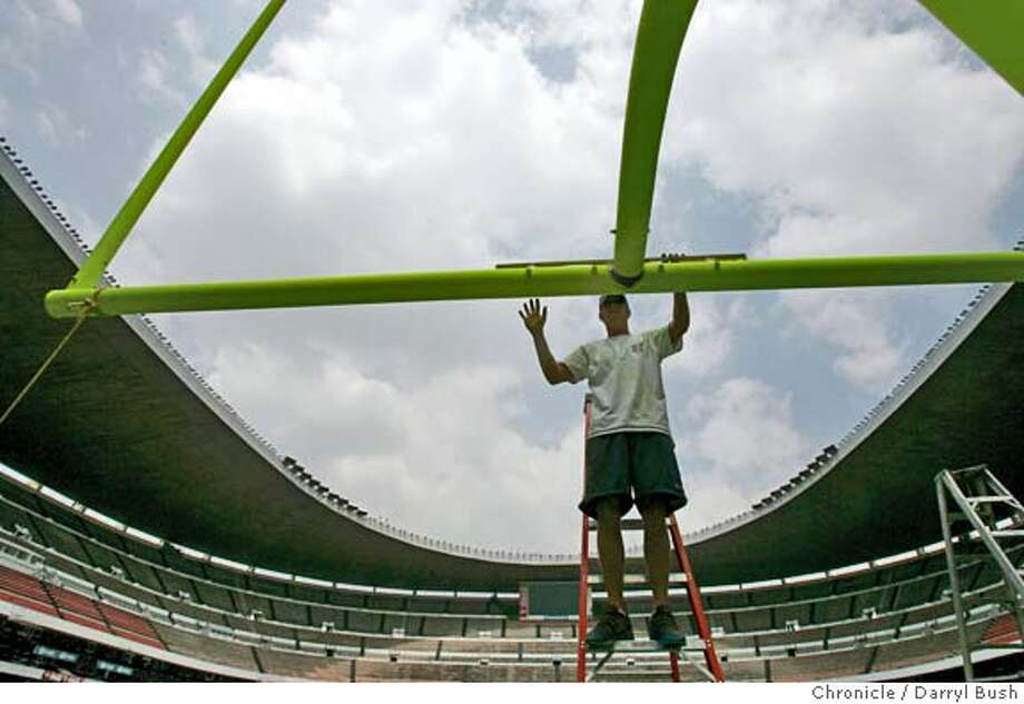 mexico49ers_276_db.jpg  NFL grounds crew worker Mike Reno of Scottsdale, AZ, straightens the newly installed goal post with a level at the Arizona endzone area inside Azteca Stadium. San Francisco 49ers and Arizona Cardinals will play at Azteca this Sunday.  Event on 9/29/05 in Mexico City.  Darryl Bush / The Chronicle MANDATORY CREDIT FOR PHOTOG AND SF CHRONICLE/ -MAGS OUT Photo: Darryl Bush