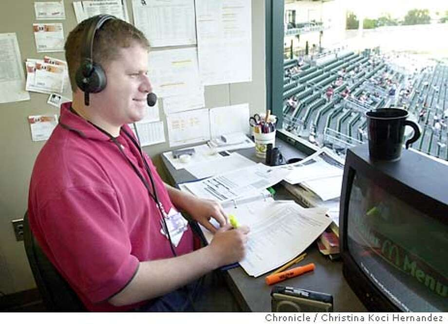 {081203_greenwald_kocihernandez} Feature on , son of longtime Giants announcer Hank Greenwald. Doug is announcer for the Fresno Grizzlies minor league team, the Giants' Triple-A affiliate. Shot on 8/12/03 in Fresno.  CHRISTINA KOCI HERNANDEZ / The Chronicle Photo: CHRISTINA KOCI HERNANDEZ