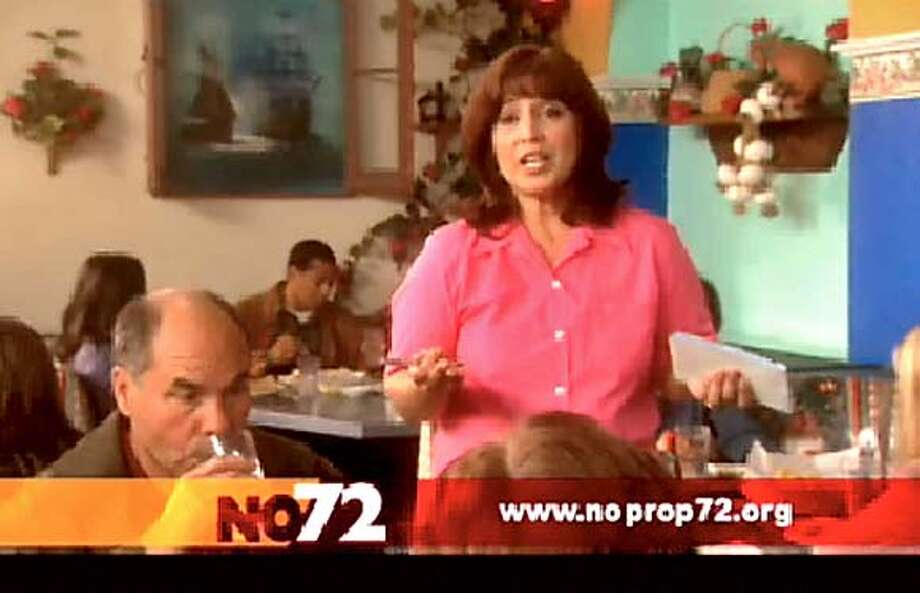 Ad against prop 72, screen grab from web site, best quality available.