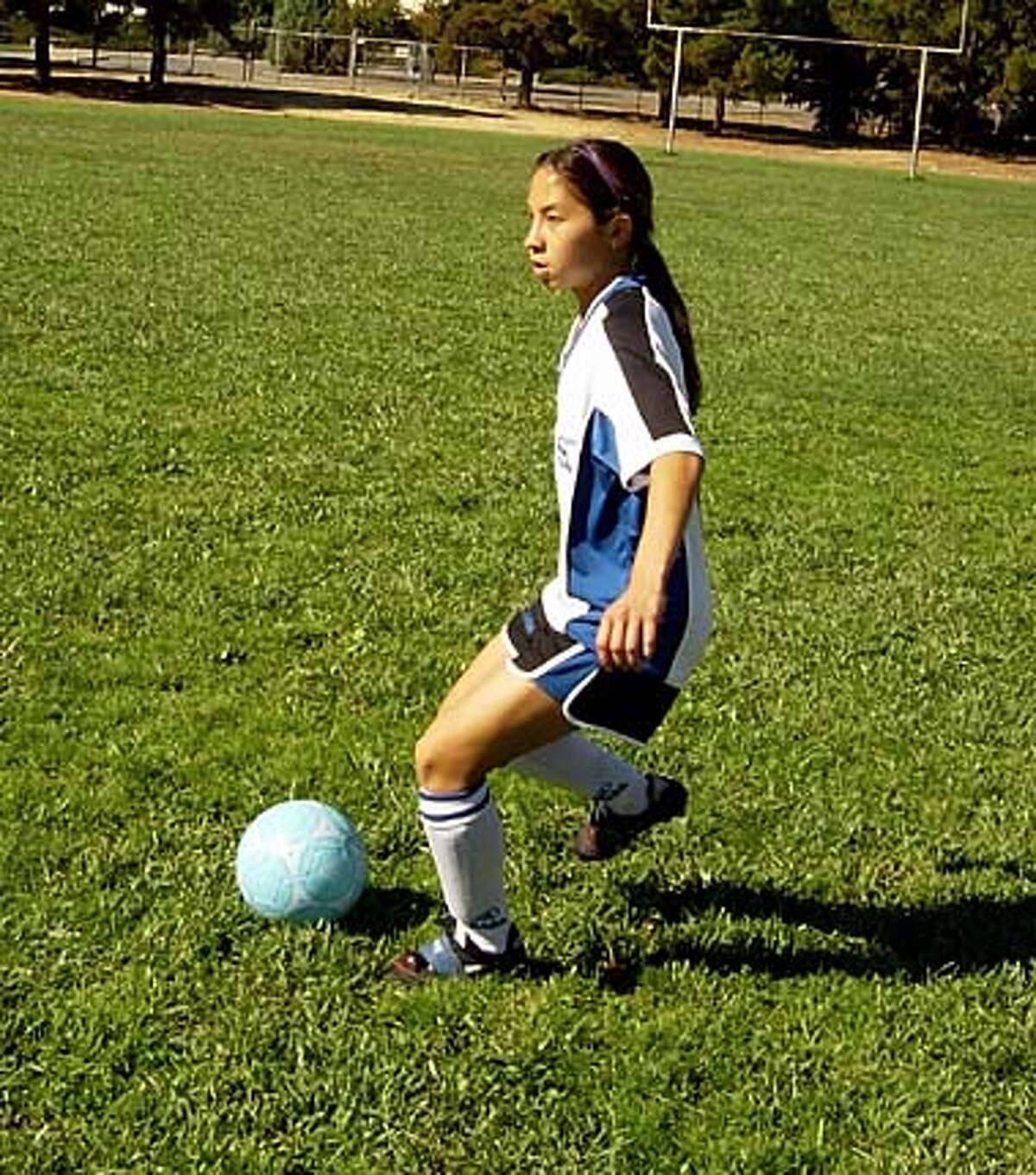 Sonja Partington, soccer player with pace maker. Goes with Nevius column in East Bay Life for 10/1.