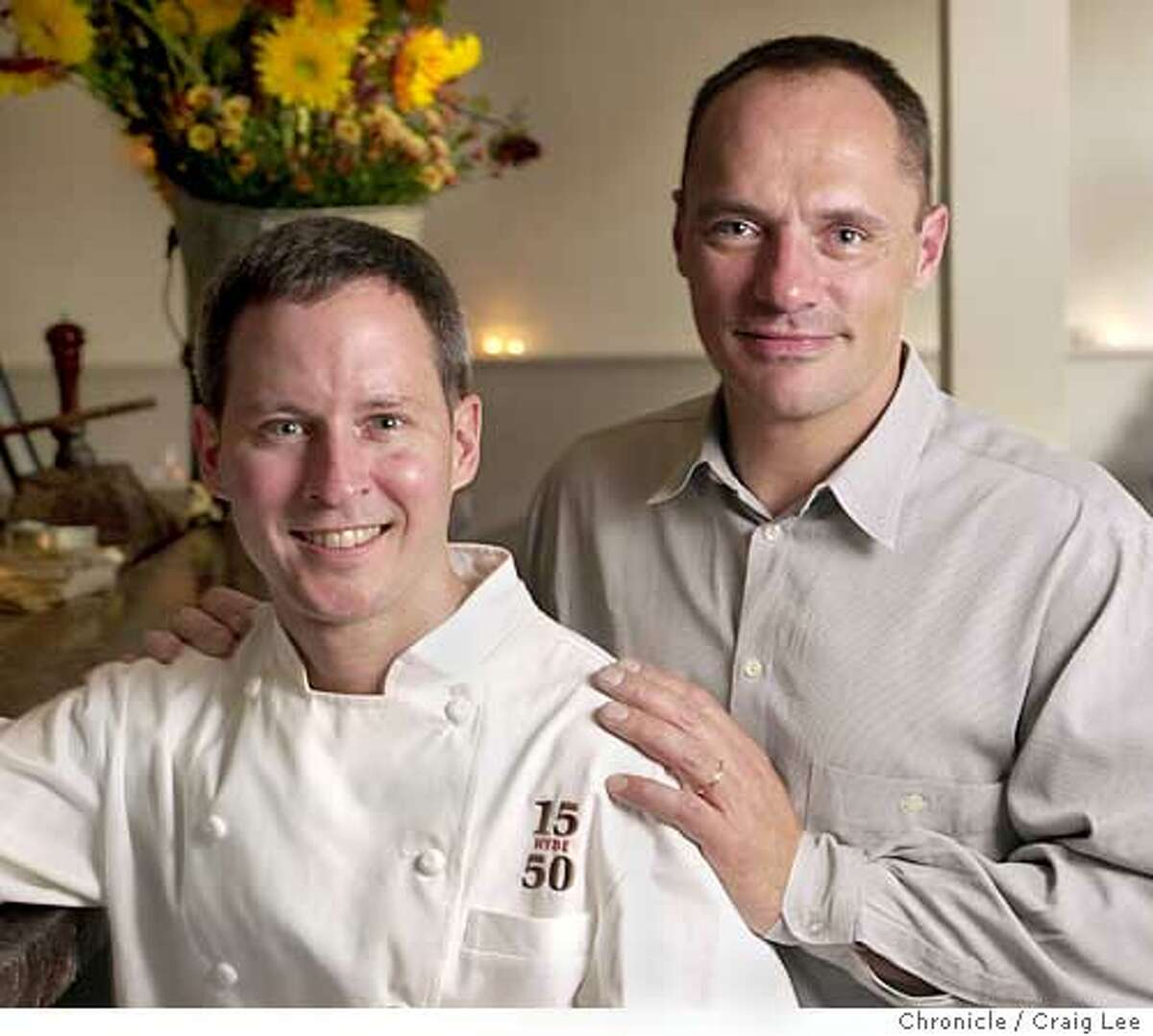 A new restaurant in San Francisco called 1550 Hyde, which is it's address near the corner of Pacific Avenue. Photo of owners/partners, Peter Erickson (left), who is the chef, and Kent Liggett (right). CRAIG LEE / The Chronicle