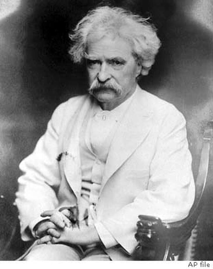 TWAIN/C/24AUG99/DD/AP-An undated image of author Samuel Clemens, better known under his pen name, Mark Twain. (AP Photo)  BY ASSOCIATED PRESS  ALSO RAN 5/13/03 Datebook#Datebook#Chronicle#12/01/03#ALL#3star#D BACK PG#