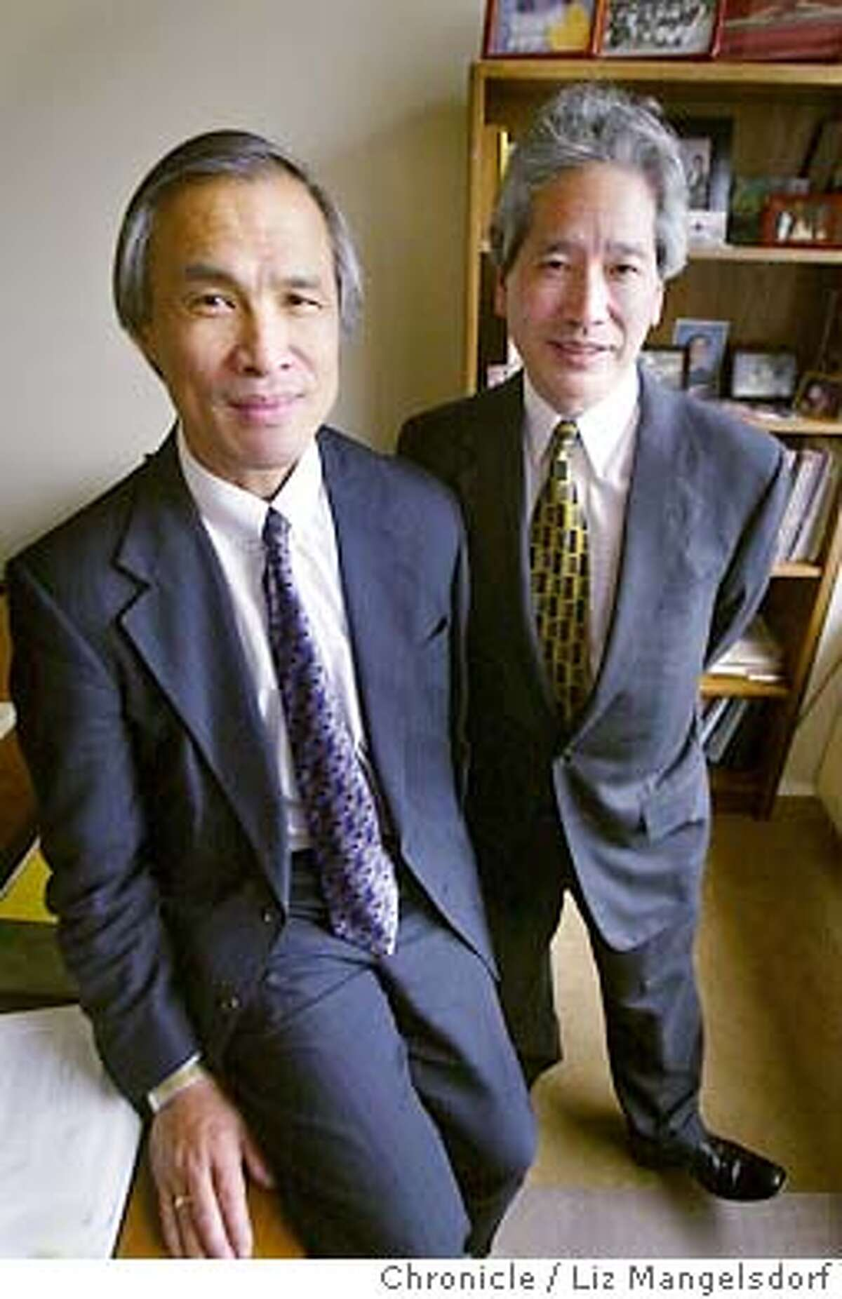 Mike Lee, left, and Don Tamaki at their law firm. Mike and Kon were the two lawyers for patrick Hayashi, one of the men who went to court to establish ownershi of the barry bonds HR ball. Liz Mangelsdorf/SF chronicle