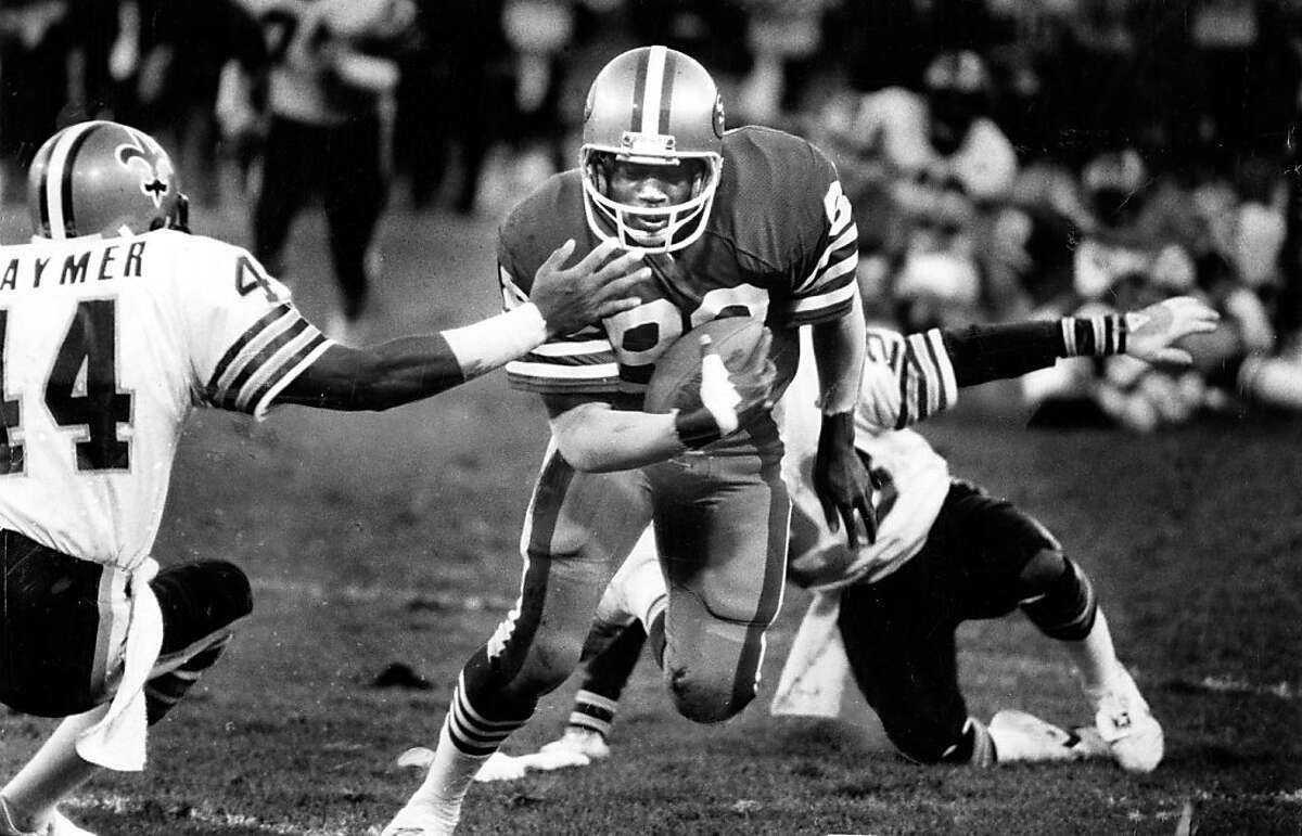 49ers Freddie Solomon, #88, scores a touchdown in the 4th quarter against the New Orleans Saints on December 7, 1980.