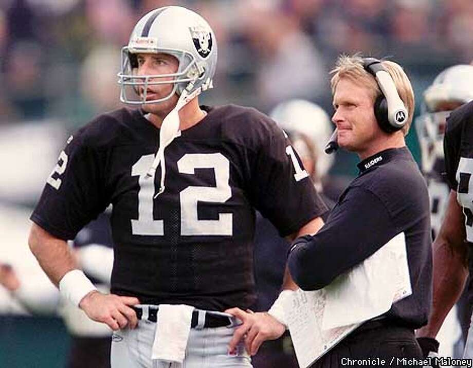 Raider QB Rich Gannon and head coach Jon Gruden during a home game against the Chargers. CHRONICLE PHOTO BY MICHAEL MALONEY Photo: MICHAEL MALONEY