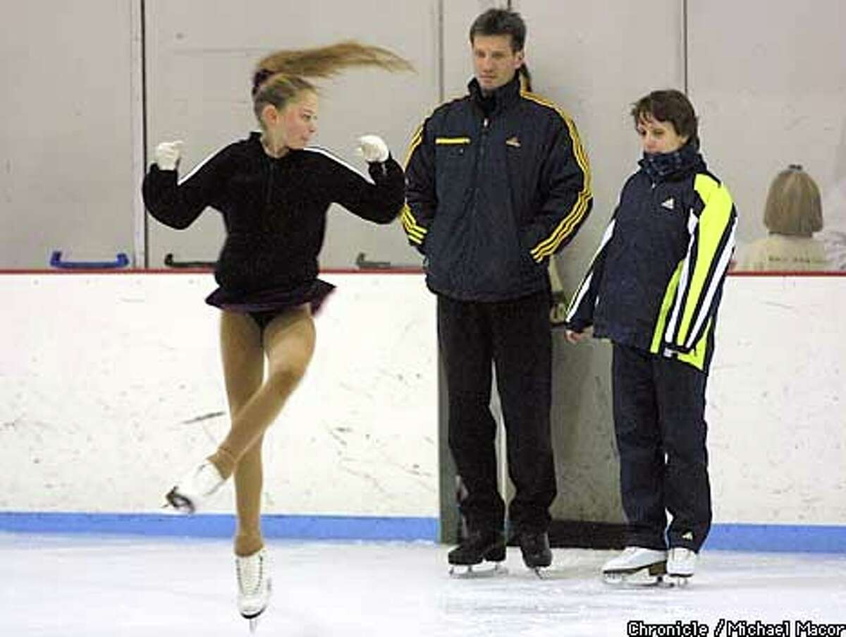 Andrei Khvalko and Elena Leonova watched one of their pupils, 12-year-old Analeigh Tipton. Chronicle photo by Michael Macor