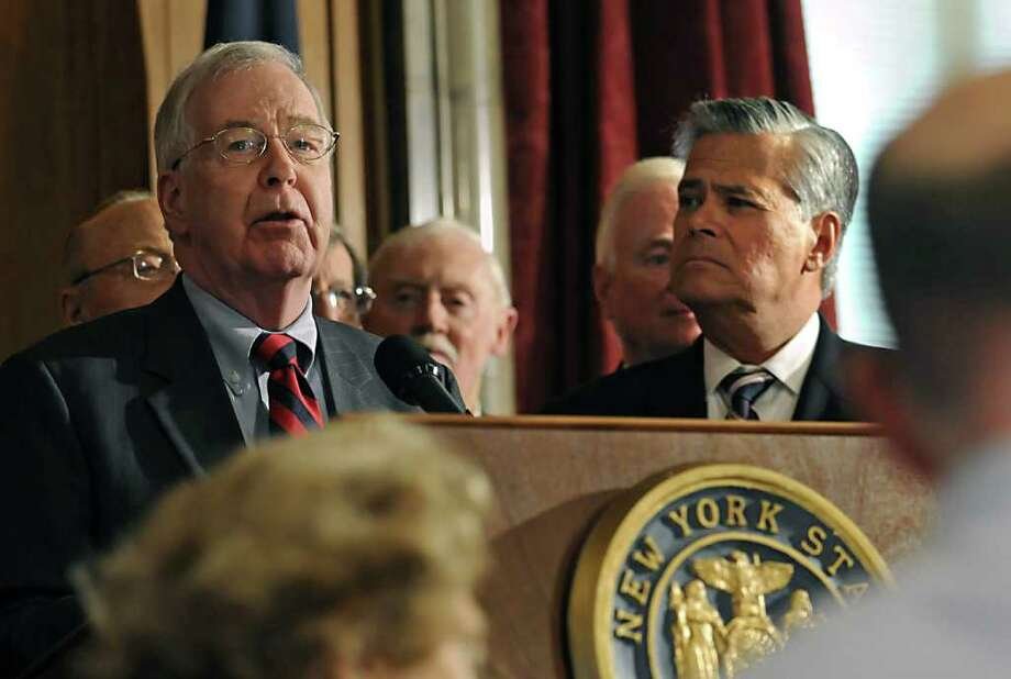 Senate Republican Leader Dean Skelos, right, announces today, during a Press Conference at the Capitol in Albany, NY, an initiative to fight Medicaid fraud on February 2, 2010. He appointed Senator Kemp Hannon, left, to serve as Chairman.  (Lori Van Buren / Times Union) Photo: LORI VAN BUREN