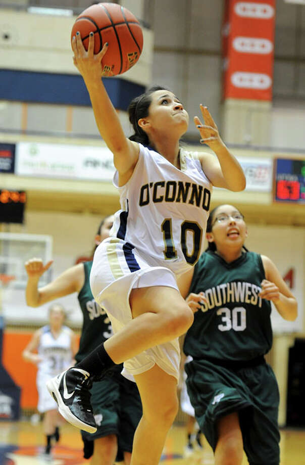 O'Connor's Bryana Garcia (10) puts up a lay up during a UIL 5A girls bidistrict playoff  basketball game between Southwest and O'Connor at the UTSA Convocation Center in San Antonio on Monday, Feb. 13, 2012. Photo: JOHN ALBRIGHT, For The Express-News / Special to the Express-News