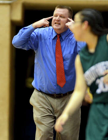 Southwest head coach Bill Avey shots at his players on the court during a UIL 5A girls bidistrict playoff  basketball game between Southwest and O'Connor at the UTSA Convocation Center in San Antonio on Monday, Feb. 13, 2012. Photo: JOHN ALBRIGHT, For The Express-News / Special to the Express-News