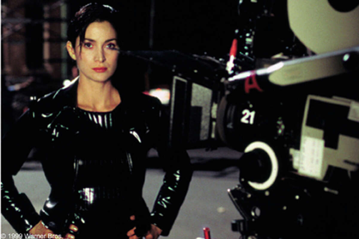 Carrie-Anne Moss on the set of The Matrix.
