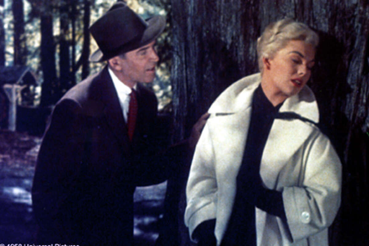 James Stewart and Kim Novak in Alfred Hitchcock's VERTIGO.