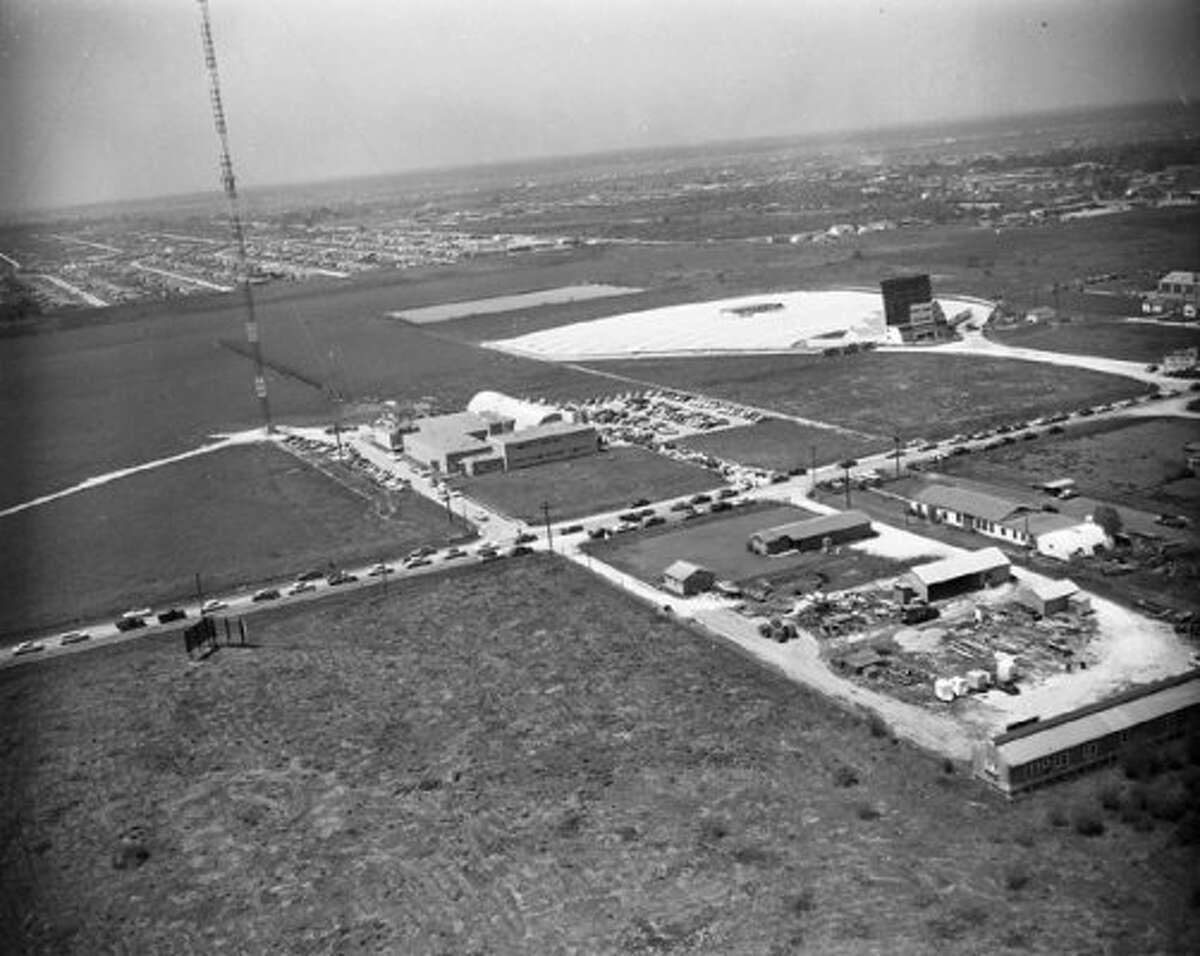 Looking northwest over KPRC's new studios and the Post Oak Drive In, 1954. (Post file)