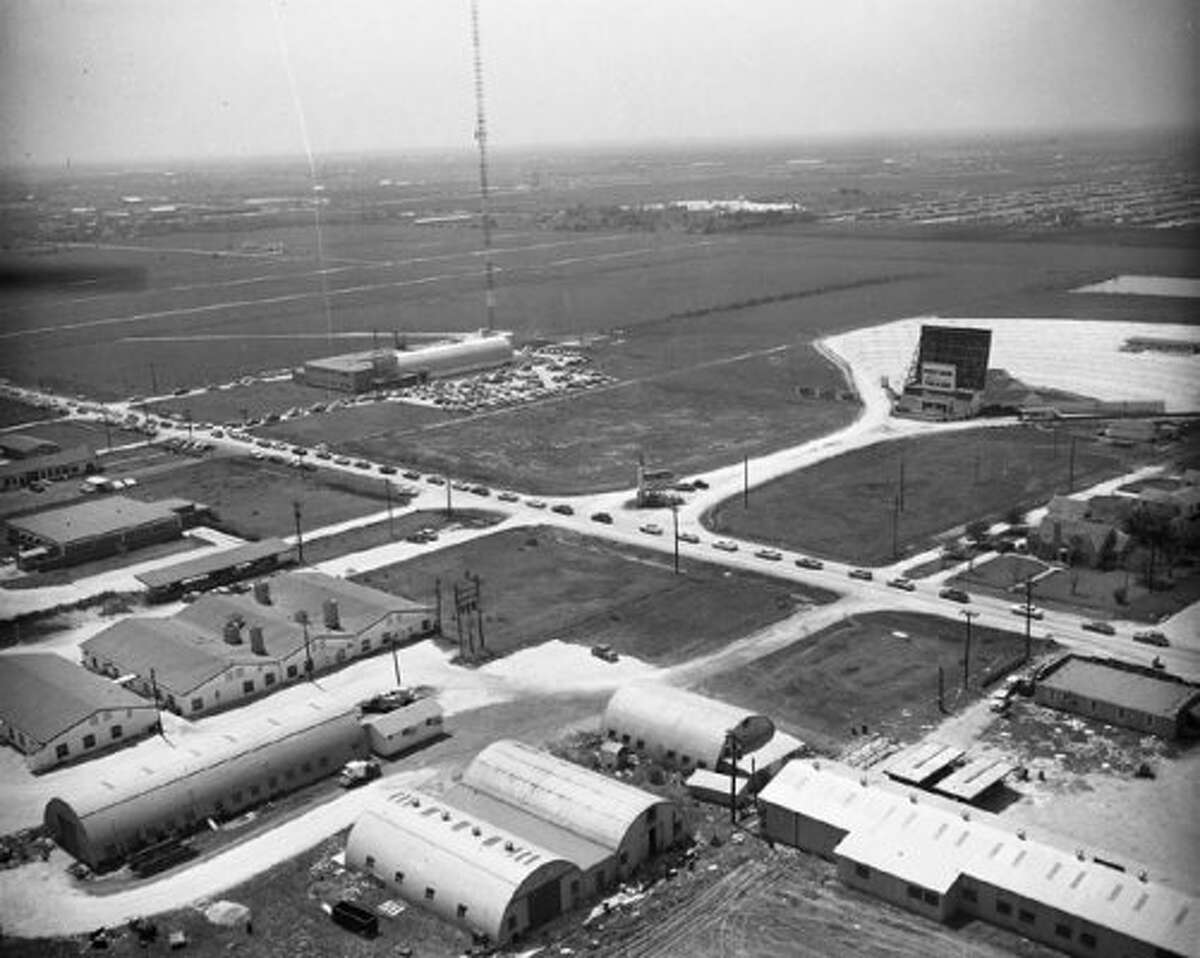 Looking southwest over KPRC's new studios and the Post Oak Drive In, 1954. (Post file)