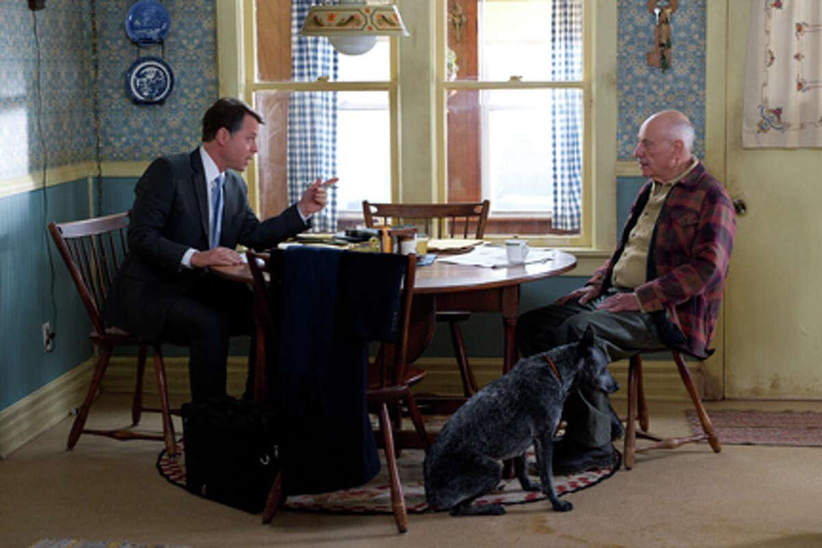 (L-R) Greg Kinnear as Mickey Prohaska and Alan Arkin as Gorvy Hauer in