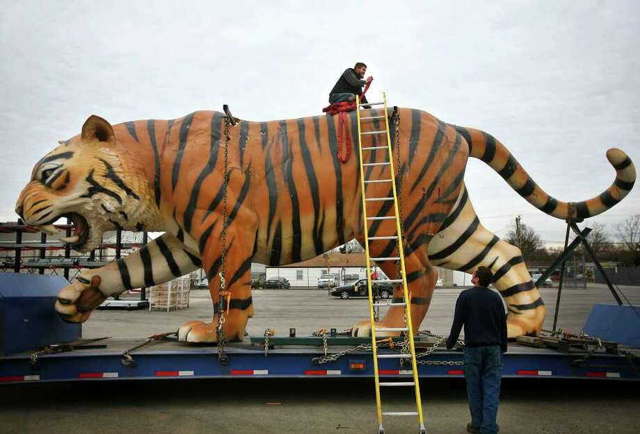 Hans Lugus, top, an employee of Show Motion, Inc. in Milford, prepares one of a pair of tigers for unloading at the company's facility at 950 Bridgeport Avenue in Milford on Tuesday, February 14, 2012. The tigers, which reside high atop the scoreboard at Comerica Park in Detroit, Michigan, are being refurbished by the Milford company where they were originally constructed. Comerica Park is home of the Detroit Tigers baseball team. Photo: Brian A. Pounds / Connecticut Post
