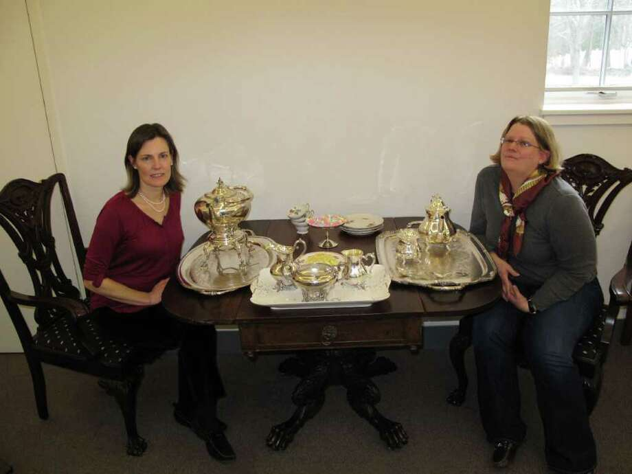 Kim Mellin and Robin Wolyner were enjoying some old fashion tea at the historical society this Valentine's Day. Photo: Paresh Jha