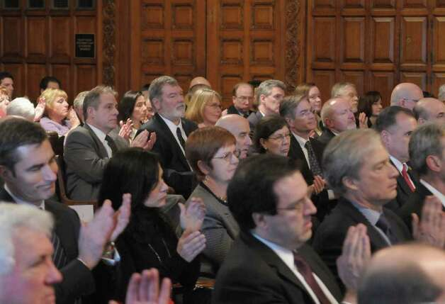 Visitors listen as Chief Judge Jonathan Lippman delivers his annual State of the Judiciary address at the Court of Appeals on Tuesday, Feb. 14, 2012 in Albany, NY.   (Paul Buckowski / Times Union) Photo: Paul Buckowski