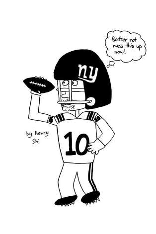 Eli Manning My favorite athlete, Eli Manning, is an amazing quarterback! He made the winning throw for the Giants in the Superbowl this year. - Henry Shi, 12 years old. Photo: Contributed Photo