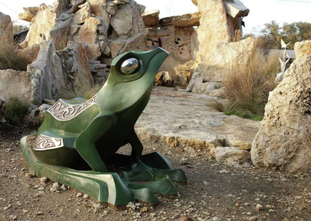 """Garden Prince"" by Austin sculptor John Maisano guards the grotto at the Old Oaks Ranch sculpture garden near Wimberley."
