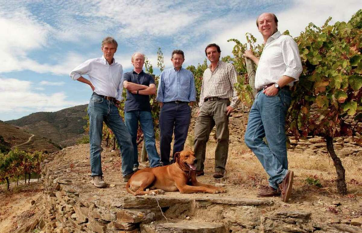 From left, Paul, Dominic, Rupert, Charles and Johnny Symington pose at the Symington Family Estates vineyard.