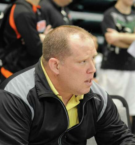 Klein Oak wrestling coach Brad Ewing at regionals on 2-11-12 at the Merrell Center in Katy. The UIL Wrestling State Tournament is Feb. 24-25, 2012 in Austin. Photo: L. Scott Hainline / For The Chronicle