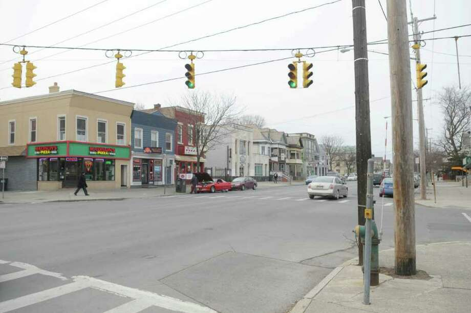 A view of the intersection of Madison Ave. and Ontario St.  on Tuesday, Feb. 14, 2012 in Albany, NY.  An 11 year-old allegedly stole a car from this intersection and was later arrested in East Greenbush.  (Paul Buckowski / Times Union) Photo: Paul Buckowski