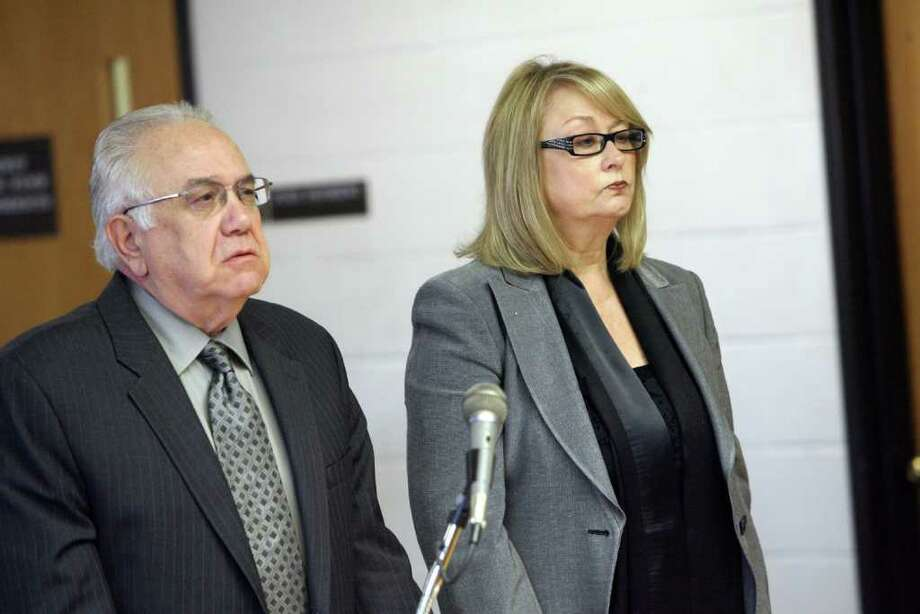 Karen Guillet,  Oxford's former Tax Collector, right, appears in Derby Superior Court  with her attorney Dominick Thomas on Monday, December 12, 2011. Photo: B.K. Angeletti / Connecticut Post