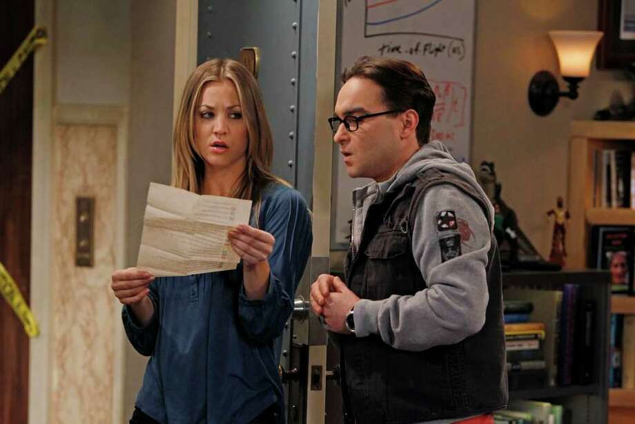 Nerdy Leonard (Johnny Galecki) has an unusual relationship with neighbor Penny (Kaley Cuoco) in The Big Bang Theory. Photo: Monty Brinton / �©2012 CBS Broadcasting, Inc. All Rights Reserved.