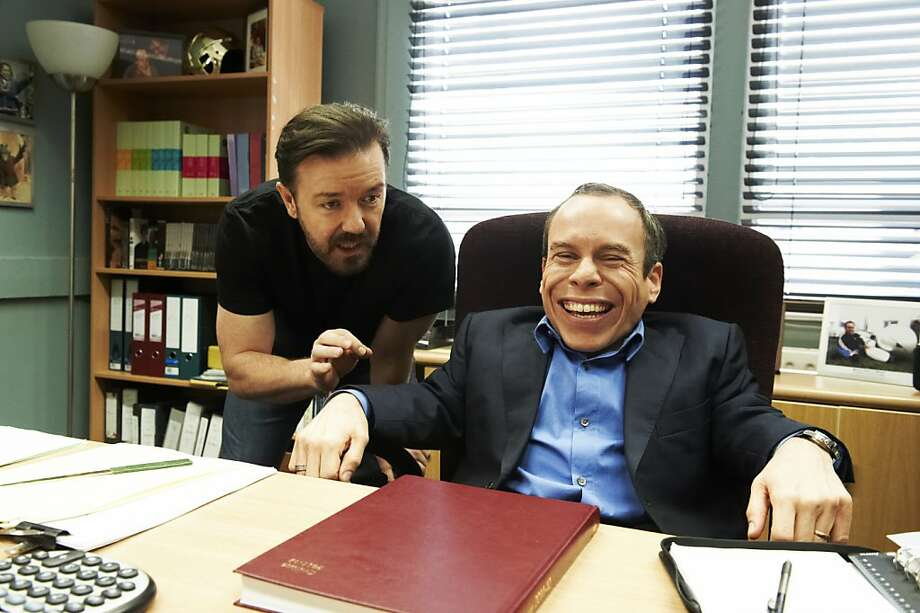 LIFE'S TOO SHORT: Ricky Gervais, Warwick Davis. Photo: Ray Burmiston, HBO