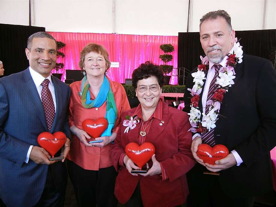 Heroes & Hearts Luncheon honorees (from left) Harlan Kelly, Jr., Martha Ryan, Marlene Tran and Dr. Richard Coughlin at AT&T Park. February 2012. By Catherine Bigelow. Photo: Catherine Bigelow, Special To The Chronicle