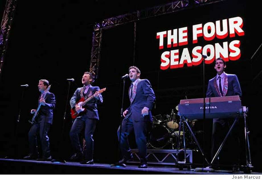 Steve Gouveia, Jeremy Kushnier, Jarrod Spector and Drew Gehling in Jersey Boys.  Photo: Joan Marcus  Ran on: 05-26-2007  Steve Gouveia (from left), Jeremy Kushnier, Jarrod Spector and Drew Gehling in &quo;Jersey Boys,&quo; at the Curran Theatre. Photo: Joan Marcus