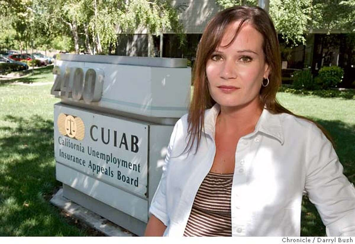 M&R_0001_db.JPG Claire Connelly, Information Systems Analyst, at Unemployment Insurance Appeals Board, Information Technology Services, in front of CUIB sign at offices where she works in Sacramento, CA, on Wednesday, June, 27, 2007. Connelly has filed a federal complaint against the agency chairwoman, Ann Richards. photo taken: 6/27/07 Darryl Bush / The Chronicle ** Claire Connelly (cq) MANDATORY CREDIT FOR PHOTOG AND SF CHRONICLE/NO SALES-MAGS OUT