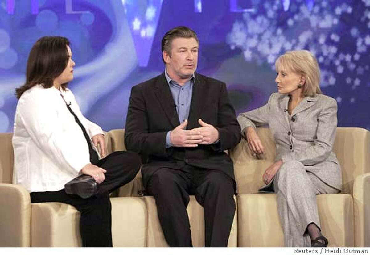 """Actor Alec Baldwin (C) appears in a taped interview with 'The View' hosts Rosie O'Donnell (L) and Barbara Walters in this publicity photo from ABC television released to Reuters April 26, 2007. Baldwin will apologize to his daughter on national television on Friday for calling her a """"thoughtless little pig,"""" according to excerpts from a pre-taped ABC interview released on Thursday. REUTERS/Heidi Gutman/ABC/Handout (UNITED STATES). EDITORIAL USE ONLY. NOT FOR SALE FOR MARKETING OR ADVERTISING CAMPAIGNS. NO ARCHIVES. NO SALES. EUO NARCH NOSALES"""